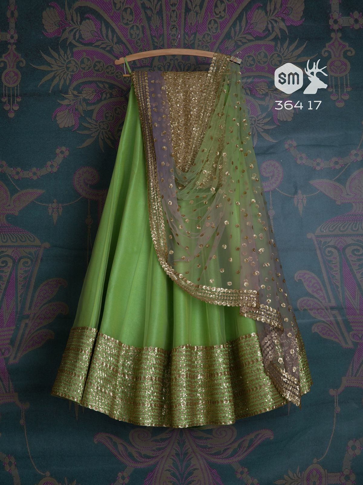 Adhesive Perot Color Embroidered Semi-stitched Lehenga Choli MDL1029