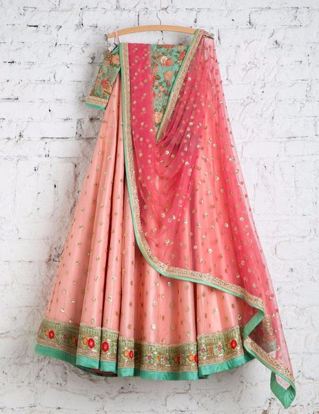 Adorable Peach Colored Party Wear Embroidered Net Lahenga MDL1034
