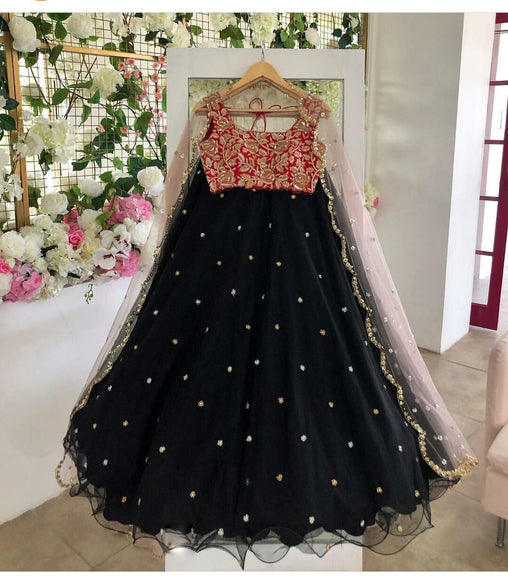 Adhesive Black Color Embroidered Semi-stitched Party Wear Lehenga Choli MDL1064