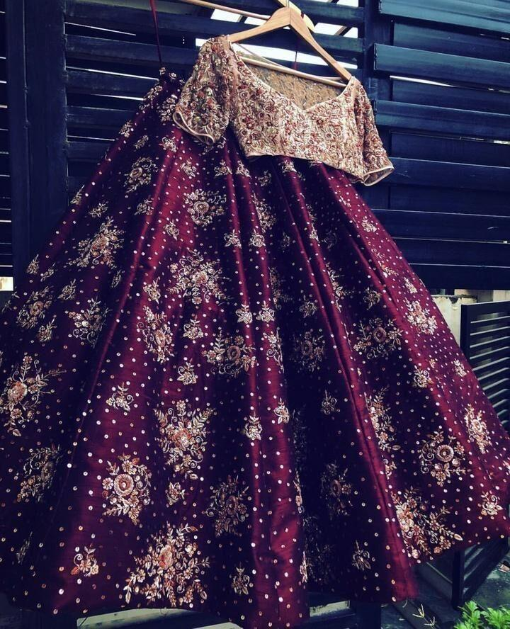 Pretty Maroon Color Embroidered Semi Stitched Lahenga Choli MDL1090