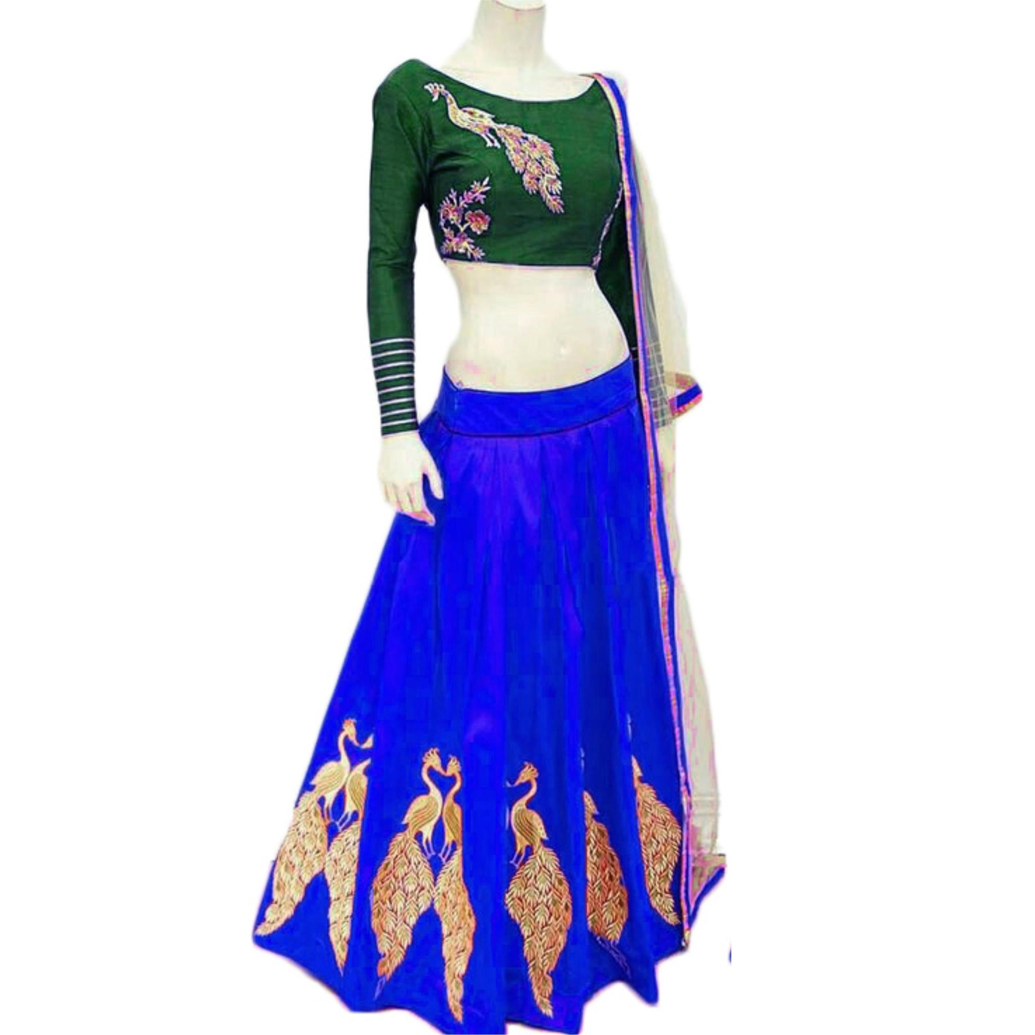 New Royal Blue Color Embroidered Semi-stitched Designer Lehenga Choli MDL1133