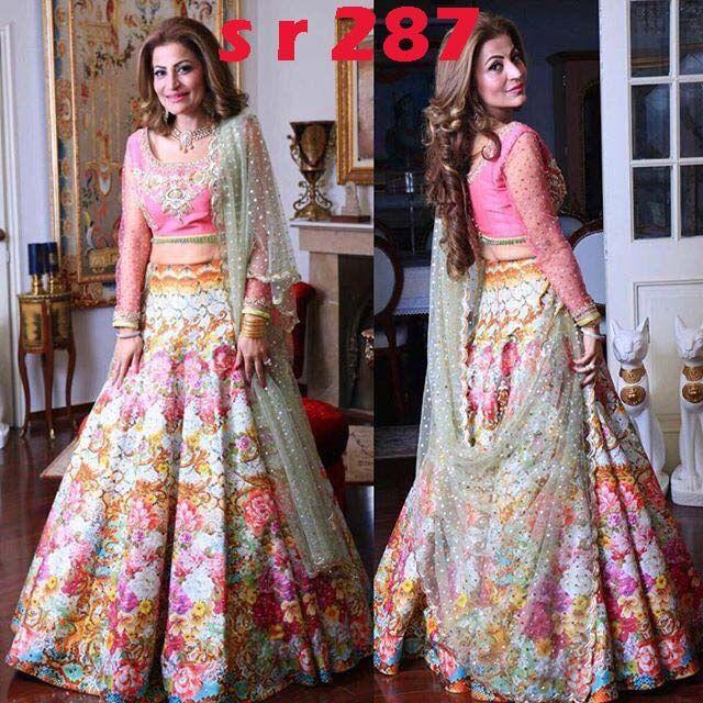 New Look Multi Color Embroidered Semi Stitched Lahenga Choli MDL1169