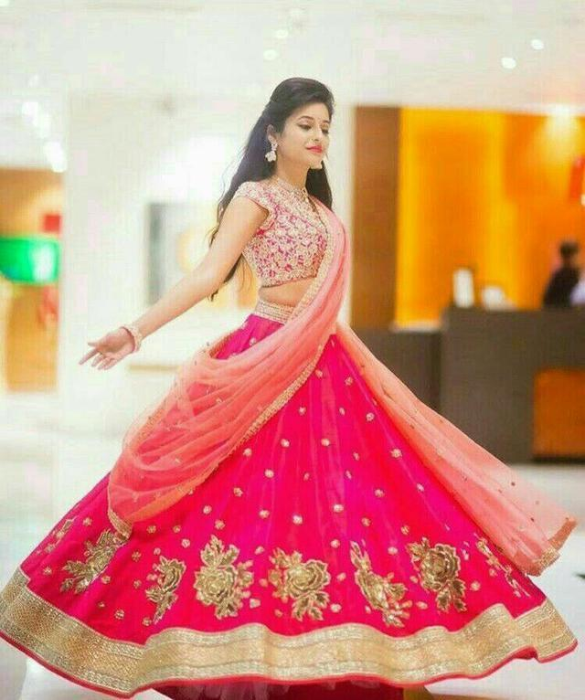 New Wedding wear Pink Colour Embroidered Lehenga Choli MDL1170
