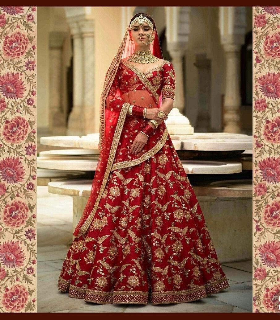 Wedding Designer Malai Satin Embroidered Semi-stitched Lehenga Choli MDL1201