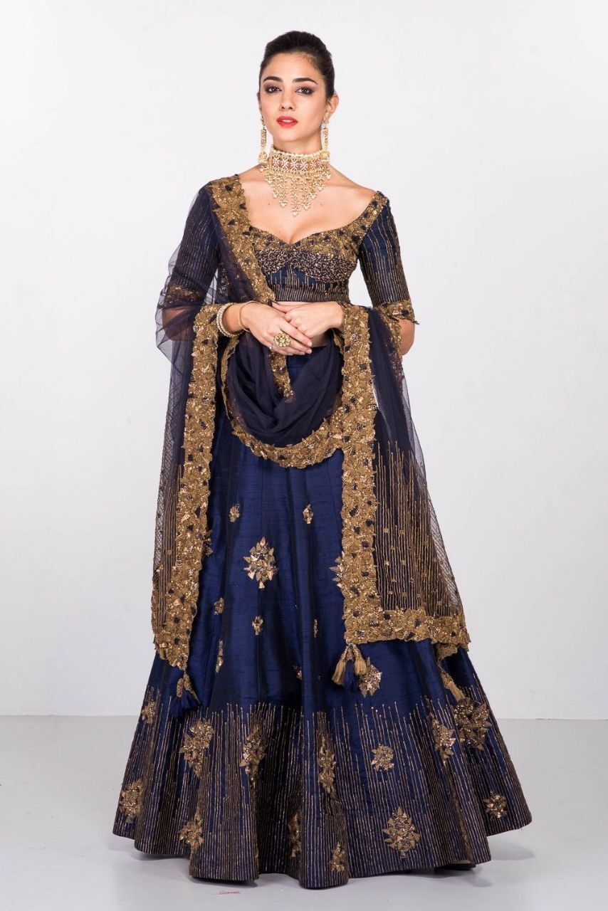 Latest Blue Color Embroidered Semi-stitched Lehenga Choli MDL1205