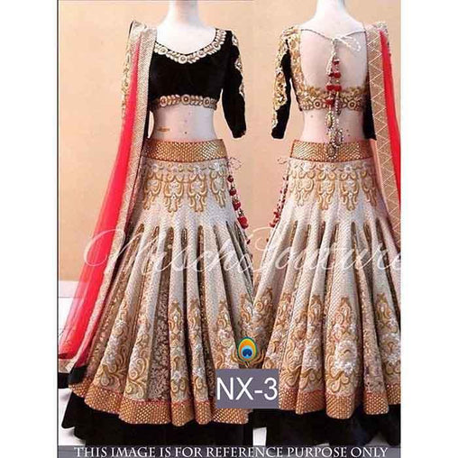 New Designer Off White Color Embroidered Semi Stitched Lahenga Choli MDL1217