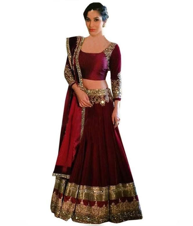 Designer Maroon Color Embroidered Semi-stitched Party-wear Lehenga Choli MDL1258