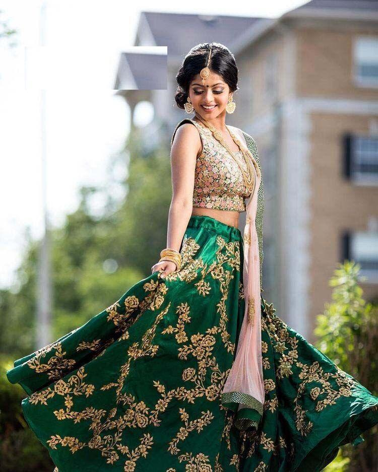 Awsome Green Color Designer Embroidered Semi Stitched Lahenga Choli MDL1264