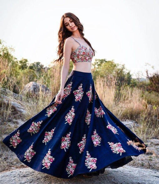 Adhesive Navy Blue Color Embroidered Semi Stitched Lahenga Choli  MDL1284
