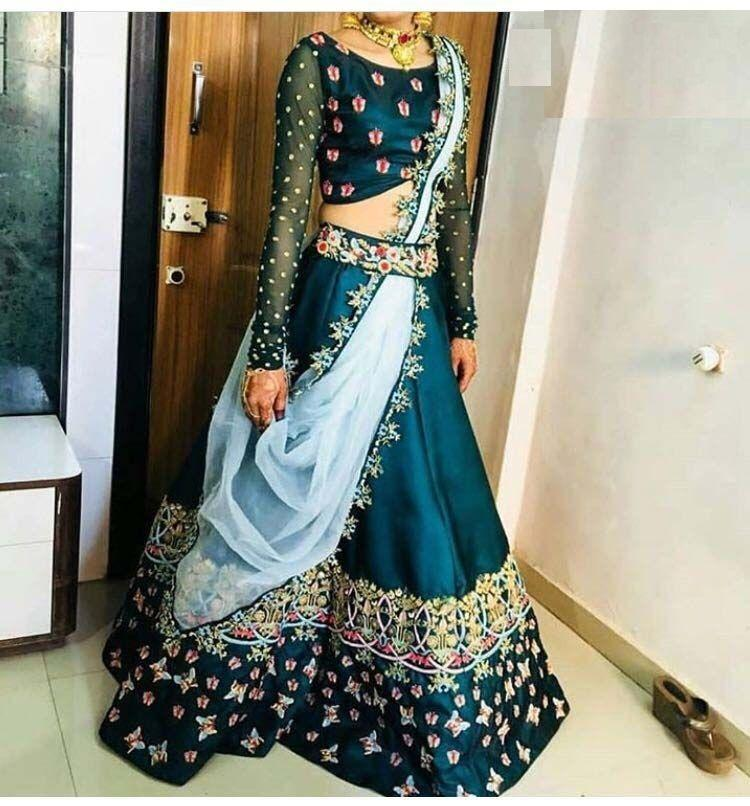 Awsome Wedding Wear Multi Color Embroidered Semi Stitched Lahenga Choli DL1290