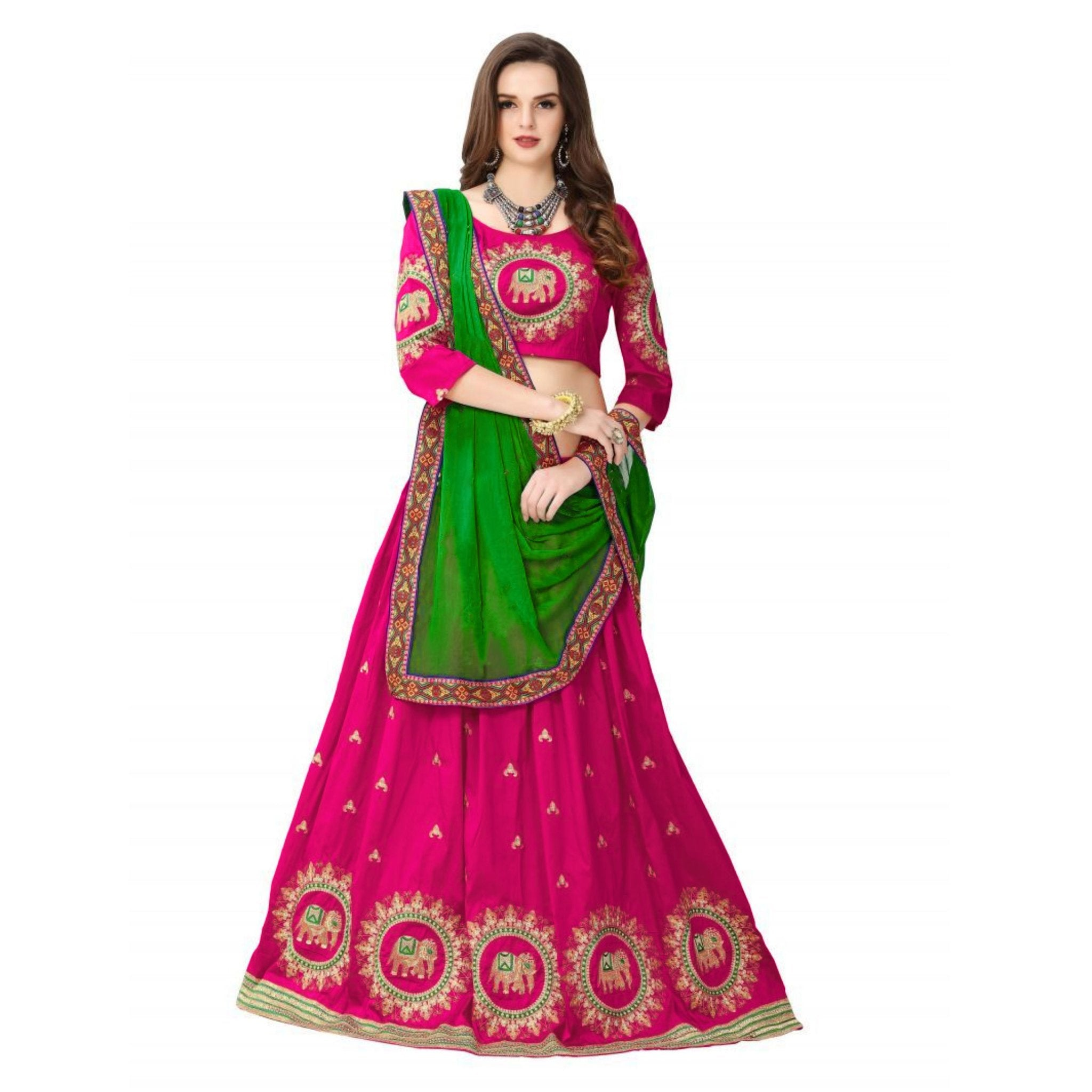Designer Pink Color Embroidered Semi-stitched Party-wear Lehenga Choli MDL1316