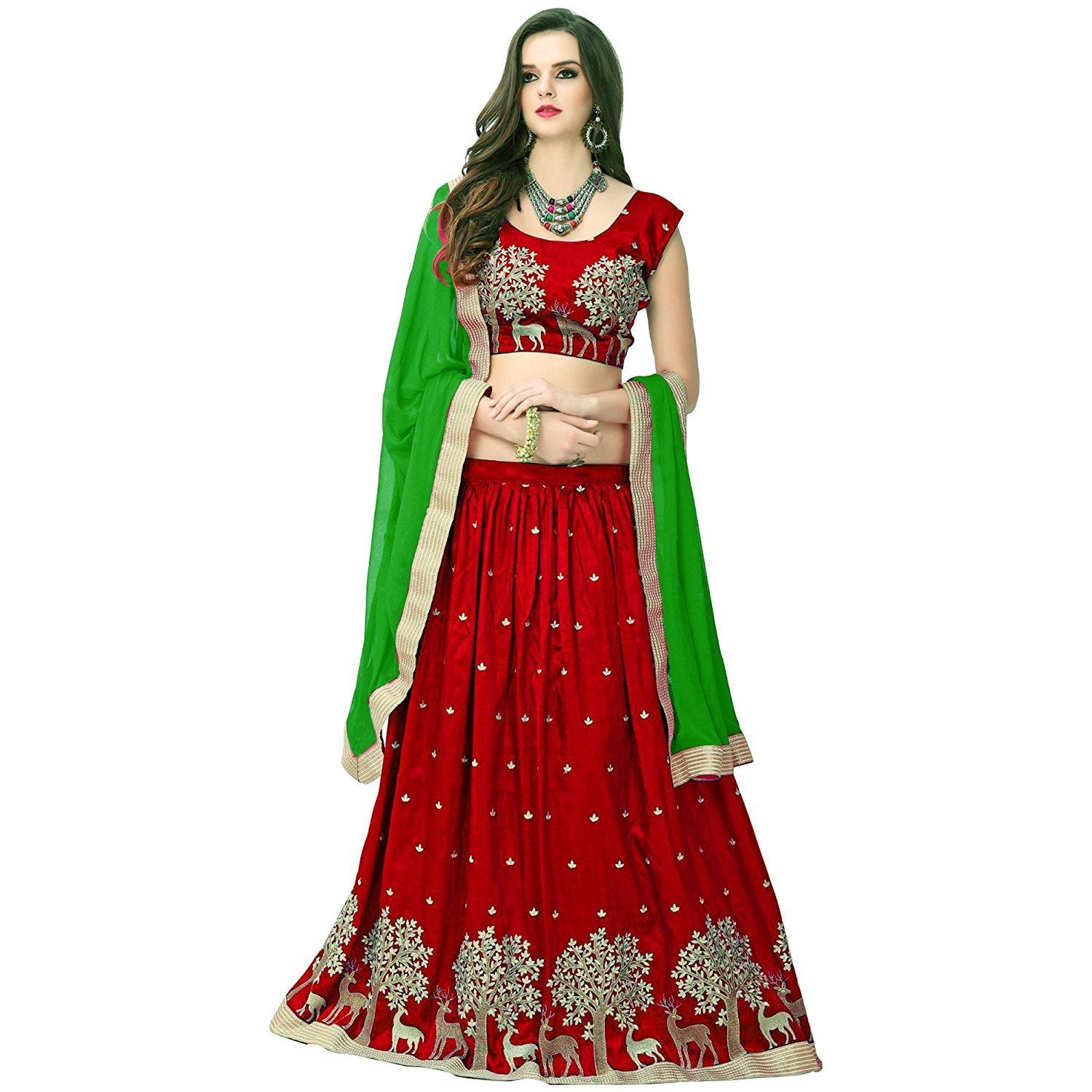 Designer Maroon Color Embroidered Semi-stitched Party-wear Lehenga Choli  MDL1324