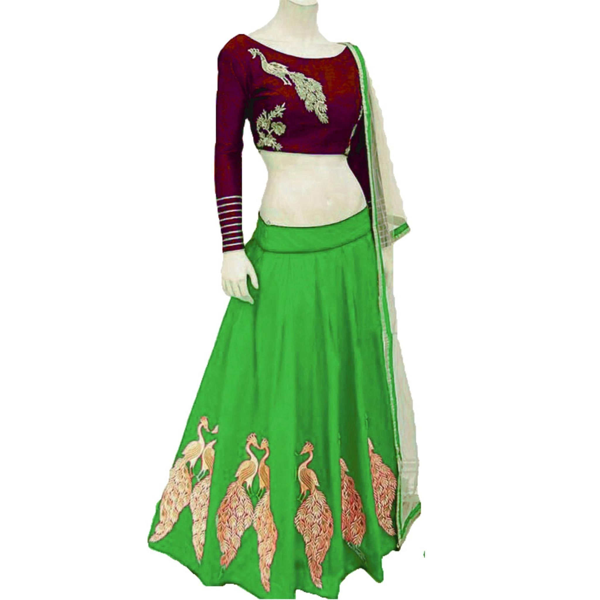 Pretty Parrot Green Color Embroidered Semi-stitched Party Wear Lehenga Choli  MDL1338