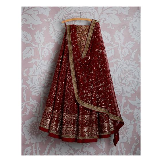 Adorable Maroon Colored Party Wear Embroidered Net Lahenga Choli MDL1341