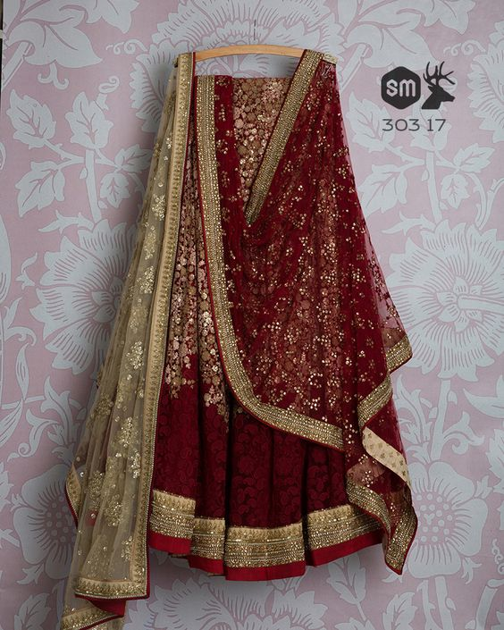 Adorable Maroon Colored Party Wear Embroidered Net Lahenga Choli MDL1342