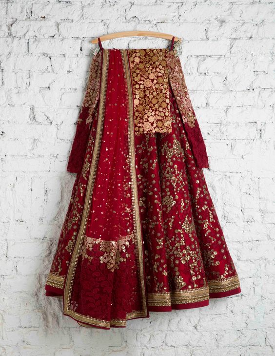 Elegant Cherry Red Colored Party Wear Embroidered Net Lahenga Choli MDL1344