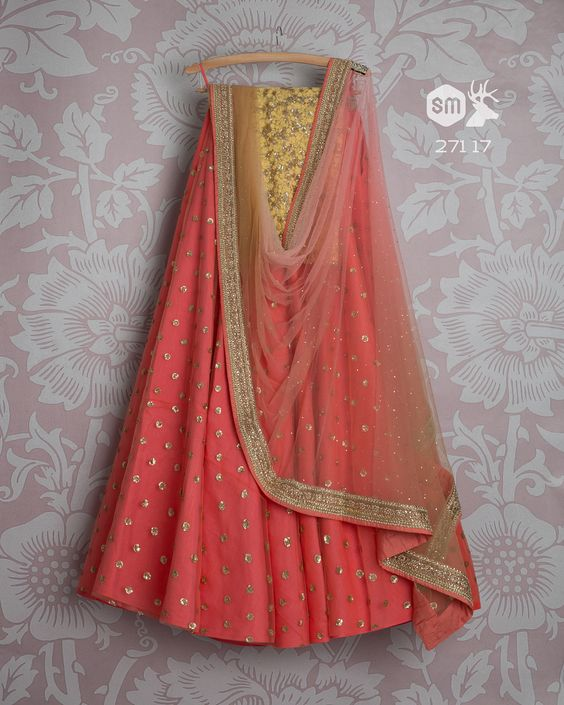 Beautifull Peach Colored Party Wear Embroidered Net Lahenga Choli MDL1346