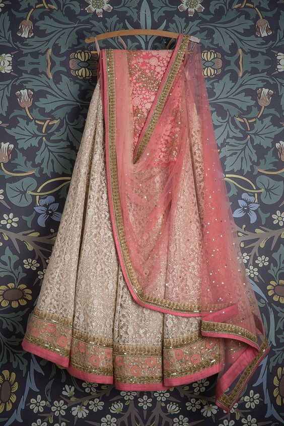 Lovely Cremy With Baby Pink Colored Party Wear Embroidered Net Lahenga Choli MDL1355