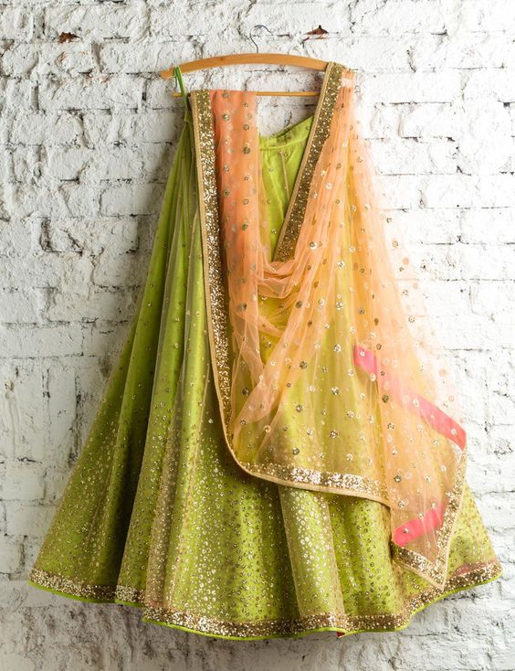 Ethnic Green With Peach Colored Party Wear Embroidered Net Lahenga Choli MDL1357