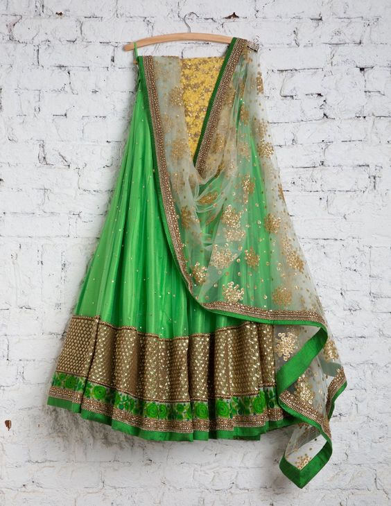 Fabulous Green With Yellow Colored Party Wear Embroidered Net Lahenga Choli MDL1360