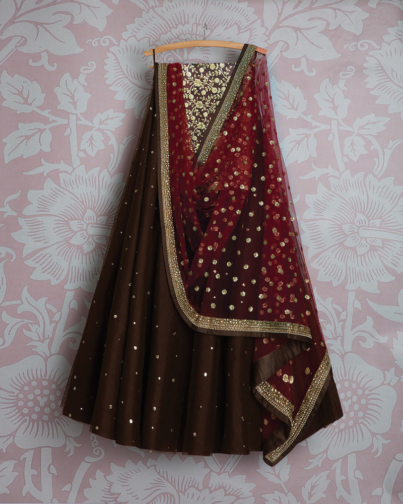 Awesome Chocolaty Colored Party Wear Embroidered Net Lahenga Choli MDL1370
