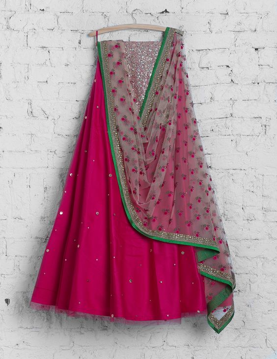 Awesome Dark Pink Colored Party Wear Embroidered Net Lahenga Choli MDL1373
