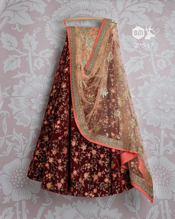 Beautifull Maroon with Peach Colored Party Wear Embroidered Net Lahenga Choli MDL1389