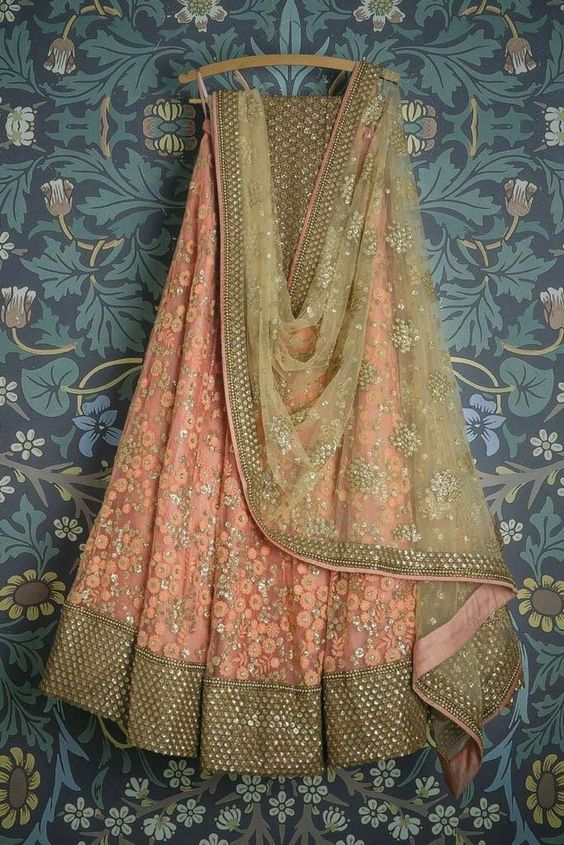 Beautifull Designer Peach Colored Party Wear Embroidered Net Lahenga Choli MDL1391
