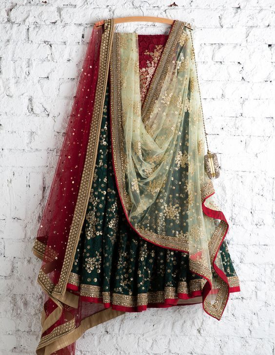 Dark Green Color Party Wear Embroidered Net Lehenga Choli MDL1426
