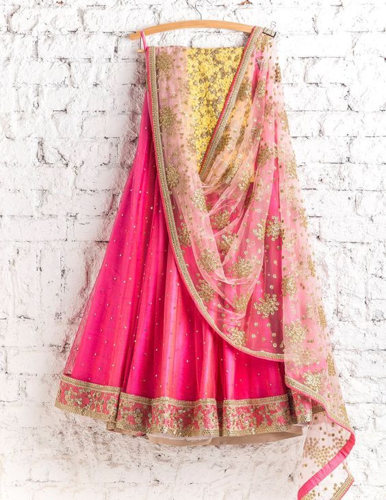 Designer Pink Color Wedding Wear Embroidered Net Lehenga Choli MDL1432