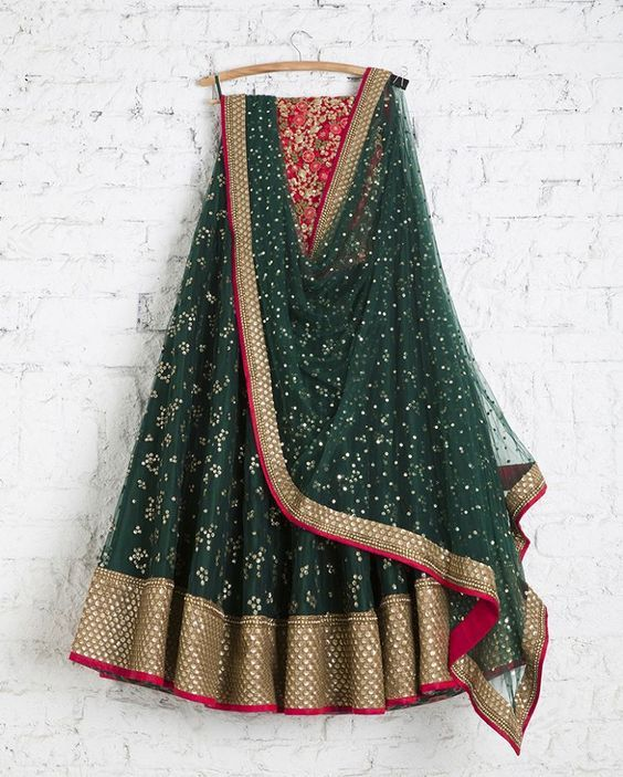 Greate Green Color Wedding Wear Embroidered Net Lehenga Choli MDL1433