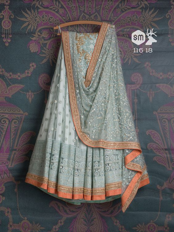 Grey Color Party Wear Embroidered Net Lehenga Choli MDL1443