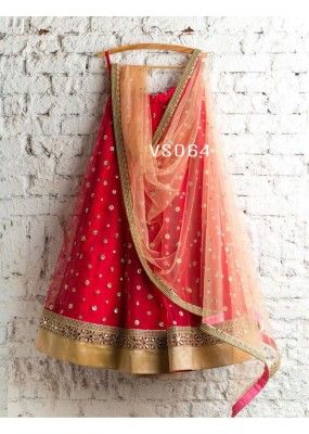 Rosy Red Color Party Wear Embroidered Net Lehenga Choli MDL1455