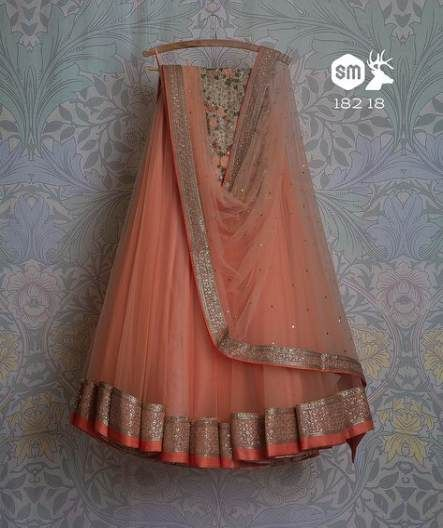 Peach Color Wedding Wear Embroidered Net Lehenga Choli MDL1458