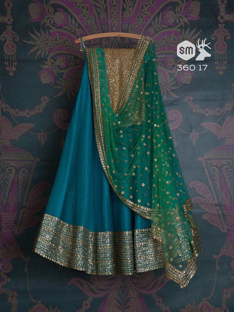 Firozi Color Party Wear Embroidered Net Lahenga Choli MDL1468