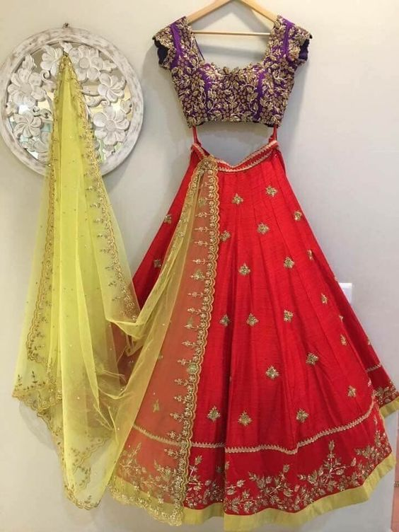 New Collection Of Designer Party Wear Taffeta Silk With Embroidery  Lehenga Choli  MDL1569