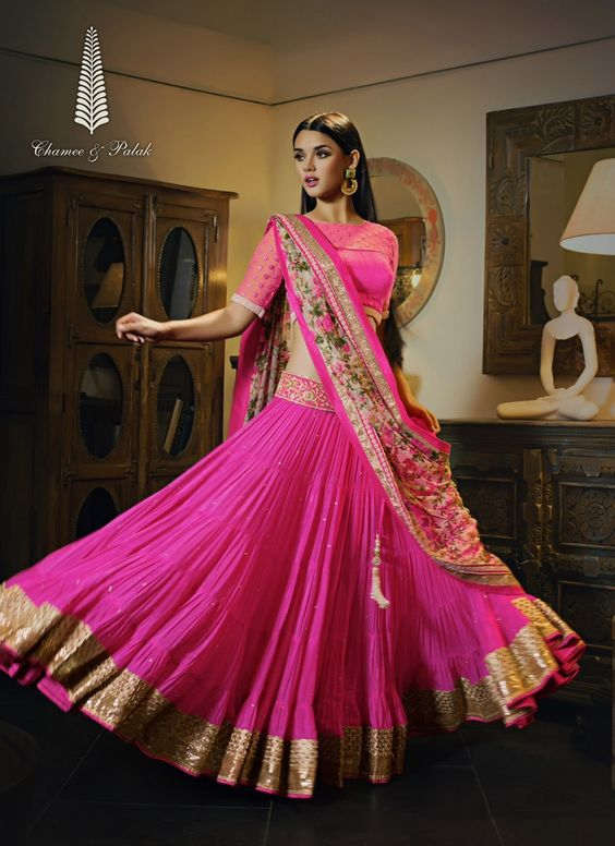 Awesome Collection Of Designer Party Wear Chiffon With Embroidery Work  Lehenga Choli  MDL1605
