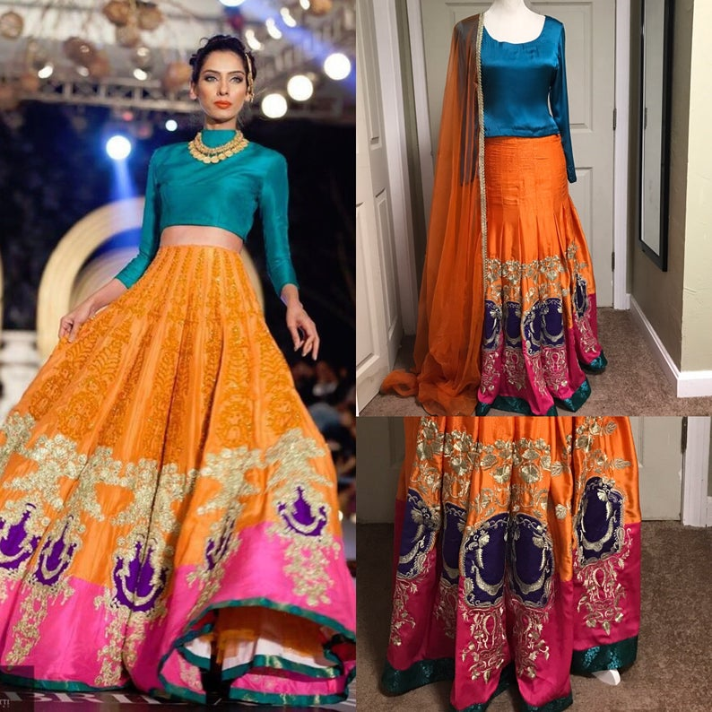 Awesome Collection Of Designer Party Wear Taffeta Silk  With Embroidery Work  Lehenga Choli  MDL1606