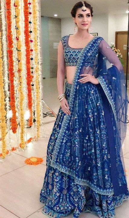 Blue Color Designer Party Wear Net With Embroidery Work Lehenga Choli  MDL1645