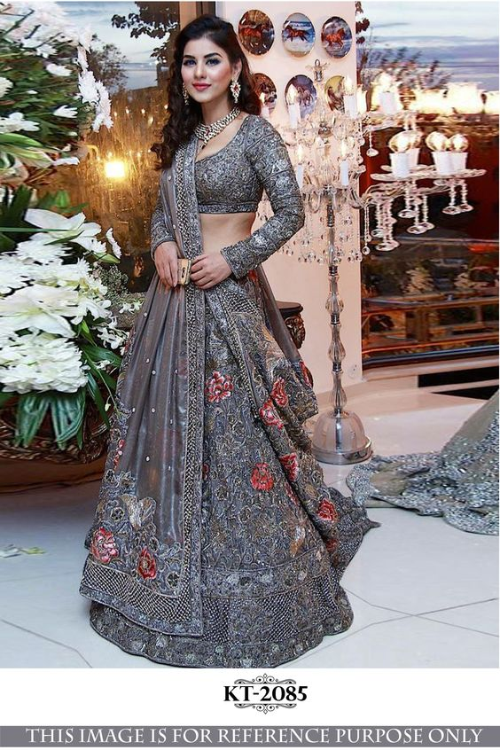 Grey Color Designer Party Wear Net  With Embroidery Work Lehenga Choli  MDL1648