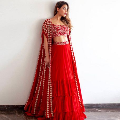 Red Color Designer Party Wear Net With Embroidery Work Lehenga Choli  MDL1694