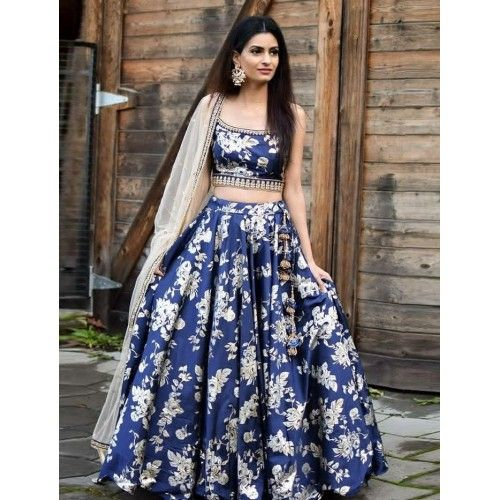 Blue Color Designer Party Wear Taffeta Silk With Embroidery Work Lehenga Choli  MDL1699