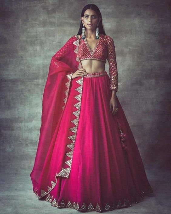 Pink Color Designer Party Wear Taffeta Silk With Embroidery Work Lehenga Choli  MDL1714