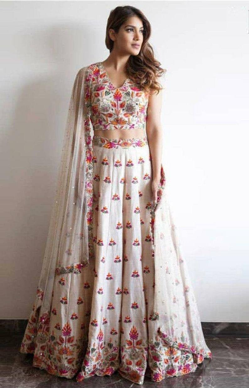 White Color Designer Party Wear Taffeta Silk With Embroidery Work Lehenga Choli  MDL1731