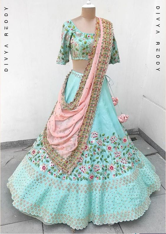 New Collection of Designer Party Wear Tafeta Silk With Embroidary Work Lehenga Choli MDL1803