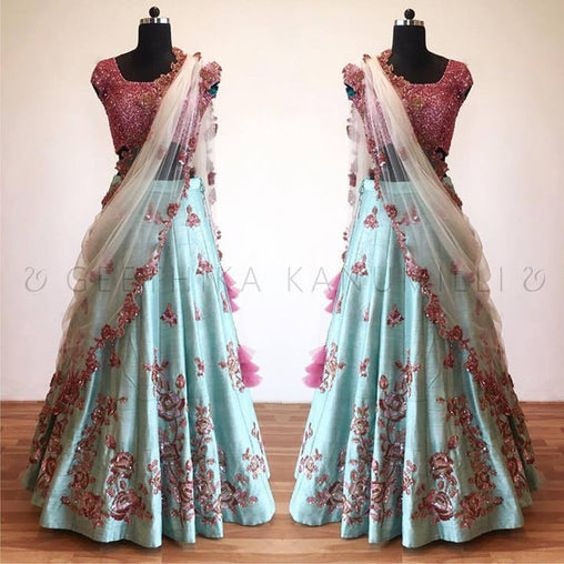 New Collection of Designer Party Wear Tafeta Silk With Embroidery Work  Lehenga Choli MDL1819