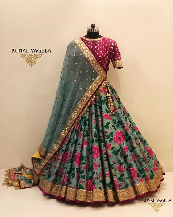 New Collection of Designer Party Wear Mulberry Silk With Print Embroidery Work  Lehenga Choli MDL1825