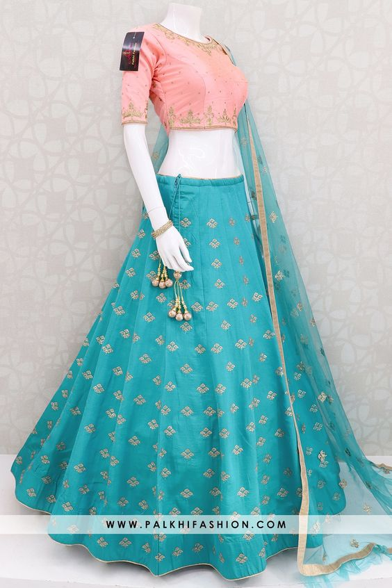 New Collection of Designer Party Wear Tafeta Silk With Embroidery Work Lehenga Choli MDL1829