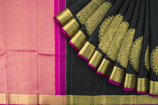 New Latest Collection Of Raw Silk Black Color Saree RS3008