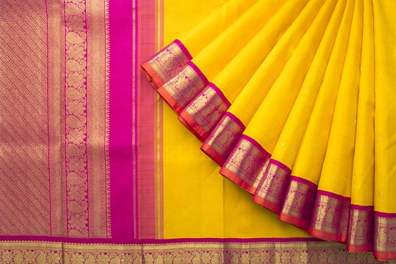 New Latest Collection Of Raw Silk Yellow Color Saree RS3009